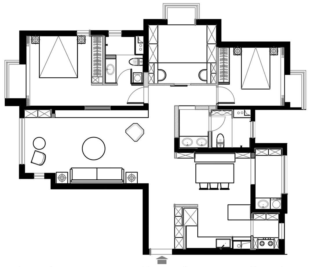 143平的简约风,餐厨结合,客厅外还有个娱乐区