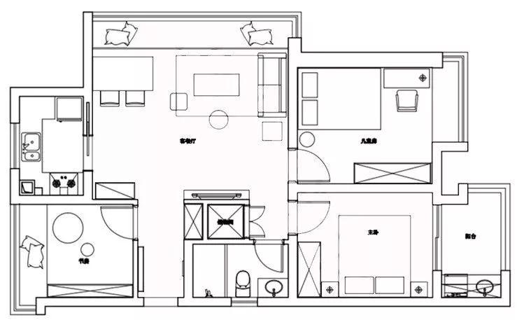 92平的北欧风小户型案例,大飘窗把客餐厅都连在一起