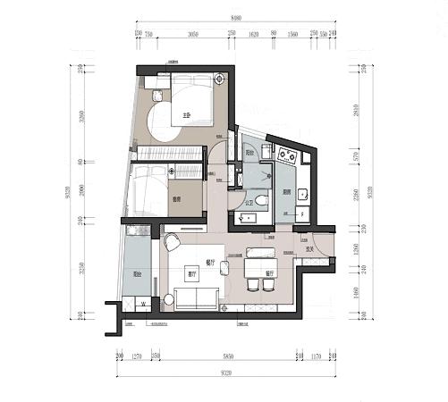 67㎡两房现代主义,简约有格调的装修风格